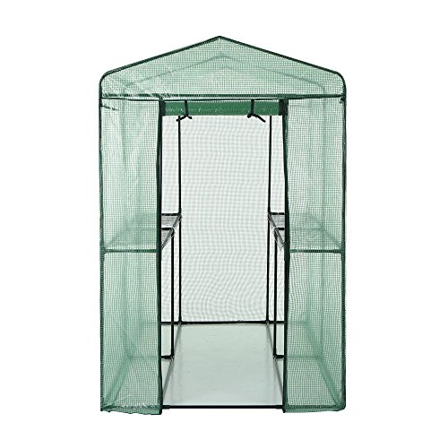 iKayaa Outdoor Large Walk In Greenhouse W/ 4 Shelves Metal Frame Plants House 47″x 75″x 75″