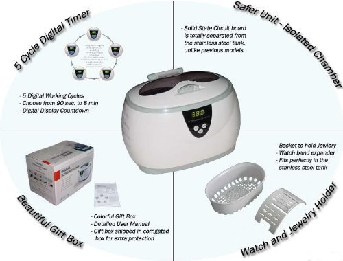 Bogue Systems Enivronmentally Friendly Ultrasonic Jewelry Cleaner- No Harmful Chemicals- Just Add Water
