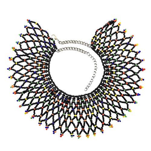 Idealway African Zulu Beaded Necklace Tribal Choker Colorful Acrylic Indian Ethnic Bib Collar (Black 7115) ()