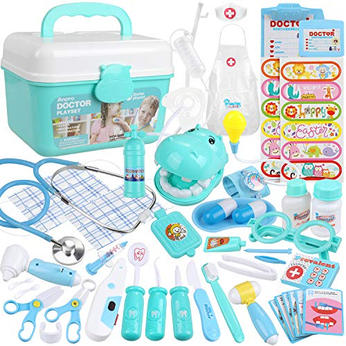 Anpro 46Pcs Medical Toy Kids Doctor Pretend Play Kit, Pretend Play Set with Stethoscope for Kids Doctor Role Play Costume Dress-Up, Birthday Gifts from Anpro