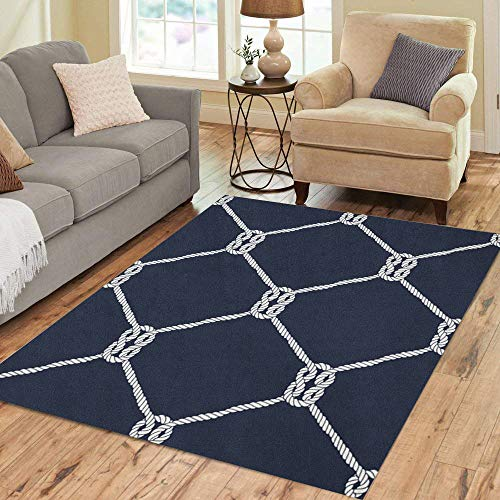 (Semtomn Area Rug 3' X 5' Nautical Rope Pattern Endless Navy White Loop Marine Knots Home Decor Collection Floor Rugs Carpet for Living Room Bedroom Dining Room)