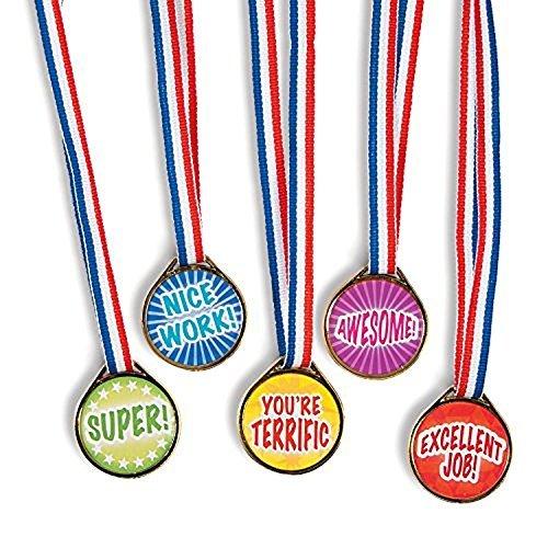 """Award Medals Assortment ~ 50 Plastic 1.5"""" Medals on 16"""" Patriotic Ribbons ~ New"""