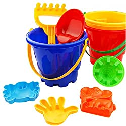 Rosiest 7Pcs Kids Children Sandbeach Toys Castle Bucket Shovel Rake Sand Mold Beach Tools