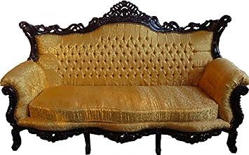 Casa Padrino Barock 3er Sofa Gold Muster/Mahagoni Braun - Wohnzimmer ...