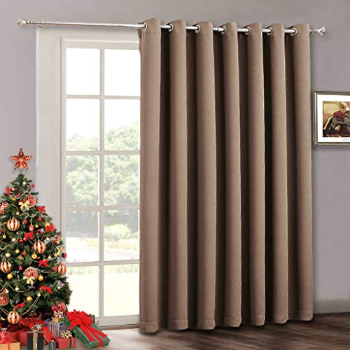 (Large Sliding Door Curtain Panel - Blackout Energy Smart Thermal Patio Sliding Door Blinds Drape, Wide Chocolate Large Window Dressing for Living Room / French Door, Wide 100