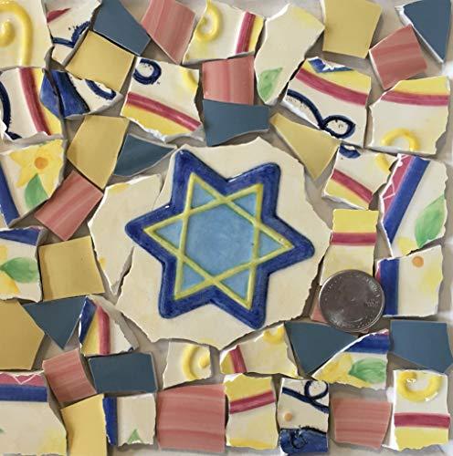 Mosaic Art & Craft Supply ~ Star of David Feature Tile w/Blue Yellow & Pink Tiles (B261)