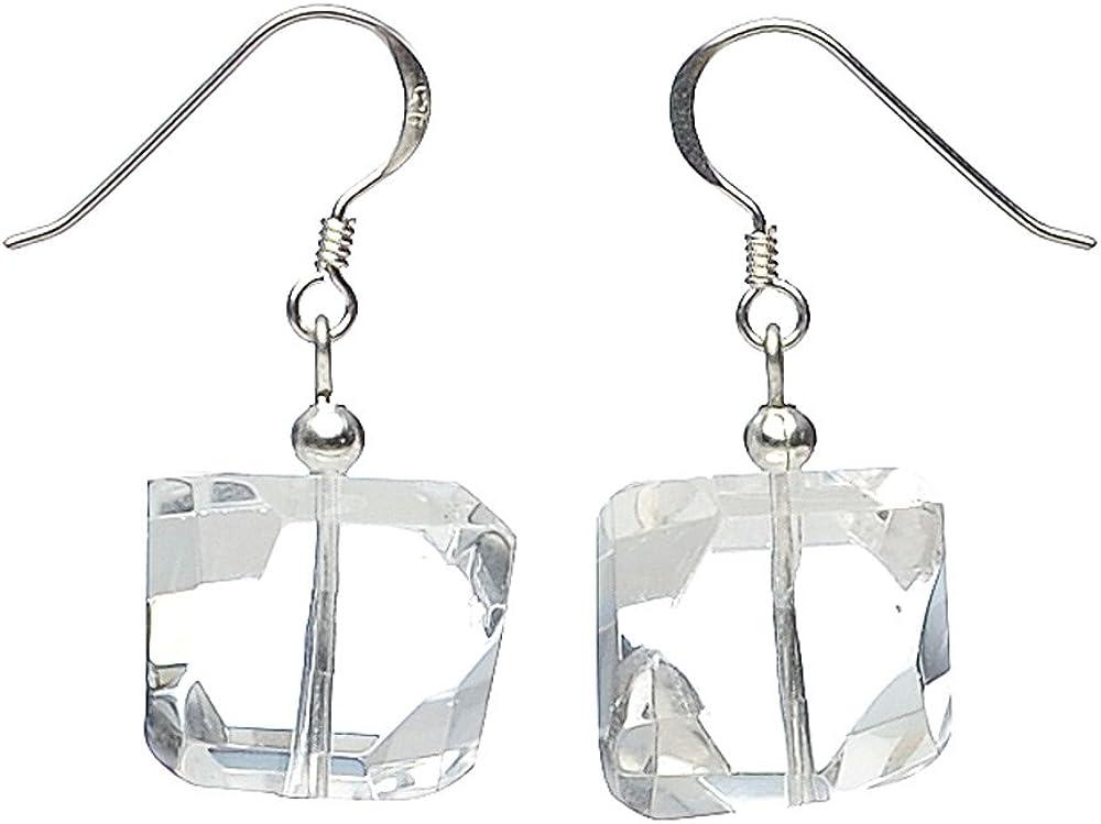 Schmuck-Krone - Pendientes de cristal de roca y plata 925 facetados para mujer