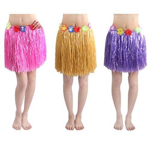 Neworkg 8 Pack Elastic Hawaiian Grass Hula Skirt?Dance Dresses luau Party Favors