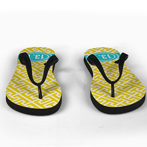 1 Pattern 13 Flip Tread Yellow Running Flops With Ribbon 0AtTHw