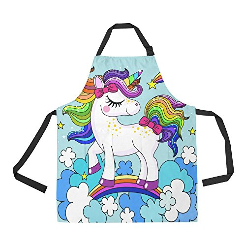 InterestPrint Cartoon Rainbow Unicorn in the Clouds Apron Kitchen Cook for Women Men Girls Chef with Pockets, Funny Animal Horse Funny Adjustable Bib Baking Paint Cooking Apron Dress by InterestPrint