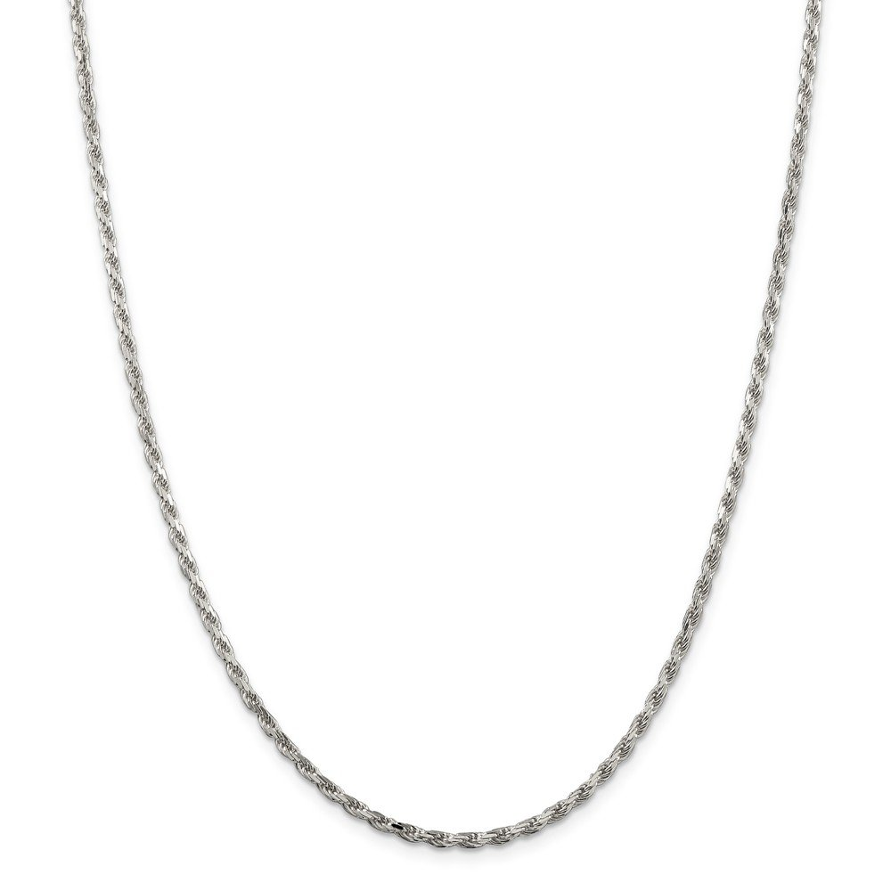 925 Sterling Silver 2.5mm Sparkle-Cut Rope Chain Necklace - 36 Inch by JewelryWeb