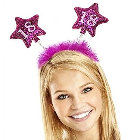Partydeco OP18-KARTON – Diadema de cumpleaños, 18 años, con plumas y estrellas, para niña