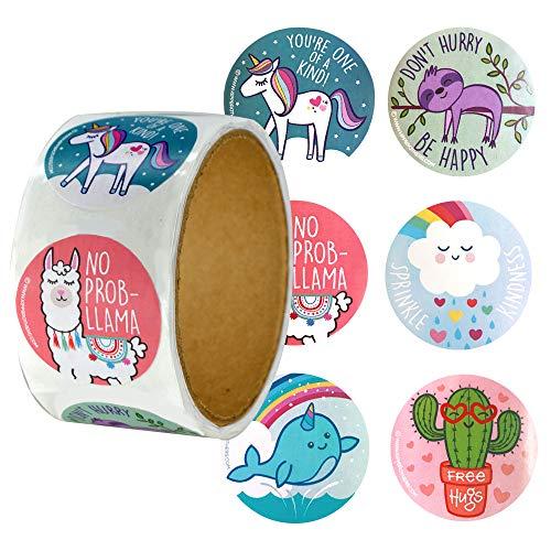 (Roll of 100 Magical Fun Stickers - Llamas, Unicorns, Sloths &)