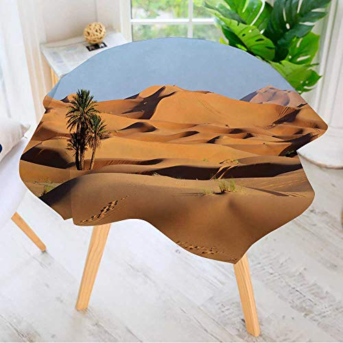 Leighhome Printed Pattern Washable Table Cloth - Morocco Sand Dunes of Sahara Desert Dinner Kitchen Home Decor 40