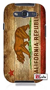 Distressed California State Flag w/Wood Grain Background Image Unique Quality Soft Rubber TPU Case for Samsung Galaxy S4 I9500 - White Case
