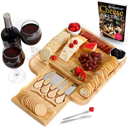 2 Piece Set Slicer Cutlery Sets - Cheese Board and Cutlery Set | Large Bamboo Serving Tray for Charcuterie, Wine, Crackers, Meat | 2 Ceramic Bowls 6 Piece Cutlery Set | Ideal Gift Birthday Wedding Anniversary