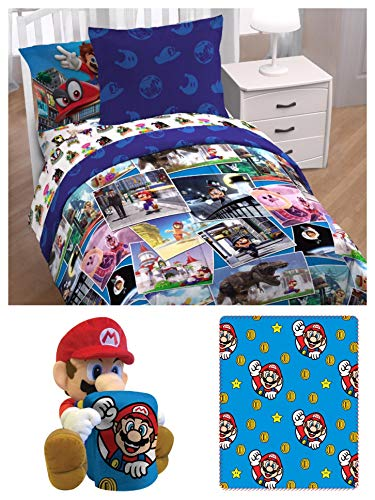 Super Mario Around The World Kids Twin Bedding Set - Comforter, Fitted Sheet, Flat Sheet, Pillowcase, Sham and Hugger Throw