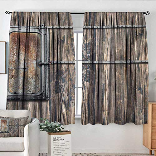 Rustic Thermal Insulating Blackout Curtain Nautical Wooden Tree Planks with Old Little Rusty Boat Marine Life Door Print Customized Curtains 72