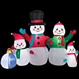 Christmas Inflatable 6' Snowman Family Airblown Decoration By Gemmy