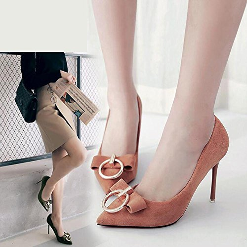 Frauen High-Heeled Schuhe Metall GüRtelschnalle Bogen Mit Feinen Spitzen Flachen Mund Office Dance Schuhe Brown