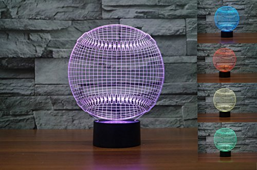 SUPERNIUDB 3D Baseball Night Light Table Light 3D Lamp Table Lamp 3D LED USB 7 Color Change LED Table Lamp Xmas Toy Gift