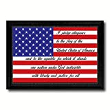 SpotColorArt The Pledge of Allegiance American USA Flag Canvas Print with Black Picture Frame Gift Ideas Home Decor Wall Art Decoration