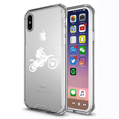 Clear Shockproof Bumper Case Hard Cover F0R Apple iPhone Dirt MX Bike Rider (White, F0R Apple iPhone XR)