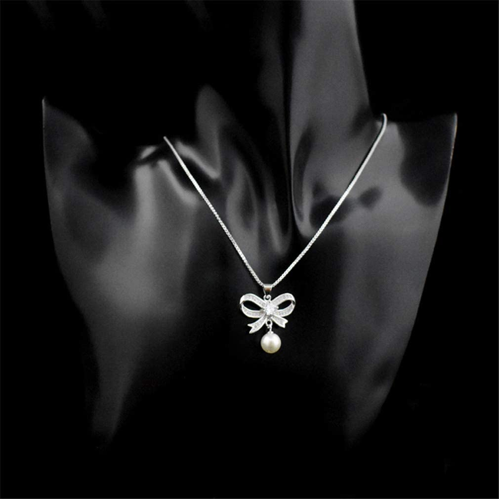 YHDBH 925 Sterling Silver Ladies Necklace with Butterfly Knot Pendant Women Jewelry
