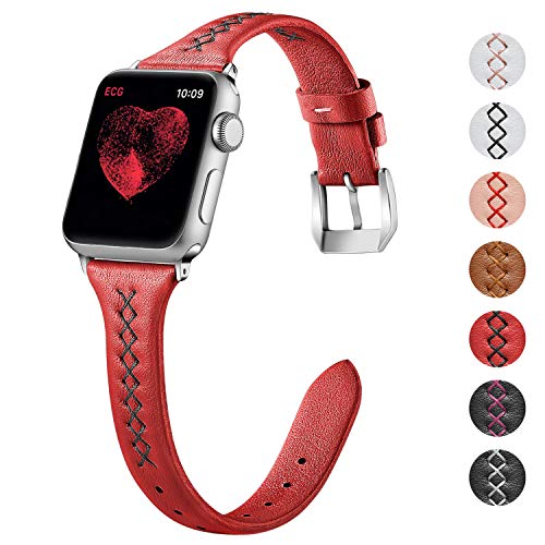 KOLEK Slim Leather Band for iWatch 40mm 38mm Series 4 3 2 1, Thinner Elegant Band for Women, Red x Black Line