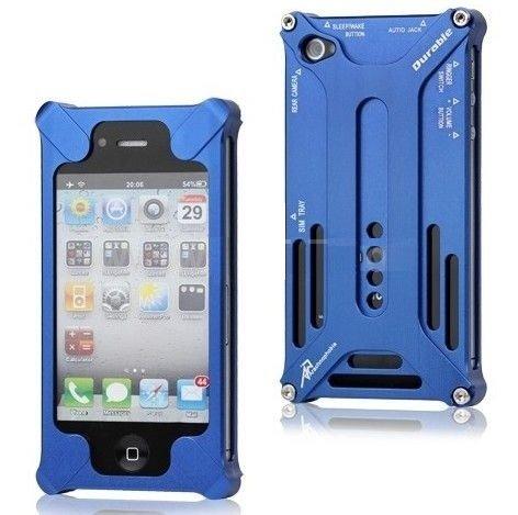 Alu Metall Aluminium Case für Apple iPhone 4 4S Bumper Bumpers Cover Schutz Tasche Schale Hülle Etui Schutzhülle - blau blue