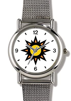 Sun or Star - WATCHBUDDY ELITE Chrome-Plated Metal Alloy Watch with Metal Mesh Strap-Size-Large ( Men's Size or Jumbo Women's Size )