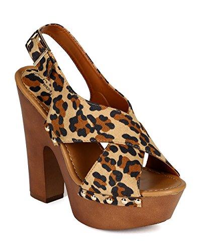 Breckelles CC17 Women Suede Open Toe Criss Cross Slingback Platform Chunky Heel Sandal - Leopard
