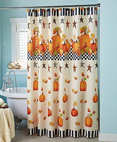 Primitive Pumpkin Stars Fall Autumn Bathroom Shower Curtain Bath Decor