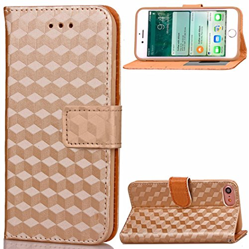 For iPhone 7,GBSELL Fashion Luxury PU Card Slot Shell Wallet Case Cover Skin For iPhone 7 4.7 Inch (Khaki)