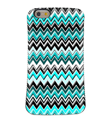 Chevron Cheveron Zig Zag Pattern Turquoise Black Teal Aqua White Impact Protection Shock Drop Proof Dual Layer Rubber/ABS HYBRID Case for iPhone 7 PLUS/7S PLUS