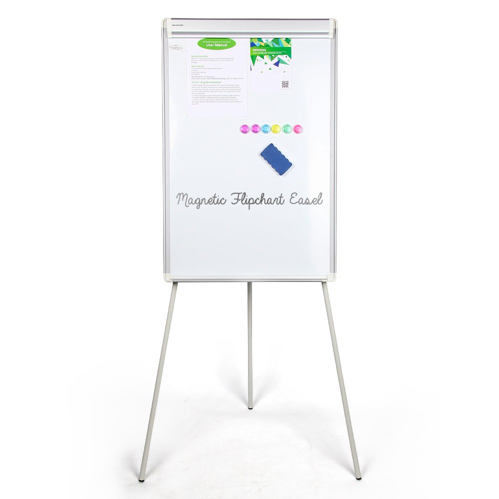 Easel White Board,WEYOUNG Portable Dry Erase Easel Board Magnetic Tripod Whiteboard Flipchart Easel Height Adjustable, White Board Easel with 1 Eraser, 3 Markers, 6 Magnets (36x24 inches)