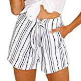 Funic Womens Sexy Striped Hot Pants Summer Casual Shorts Lace Up Short Pants (L, White)