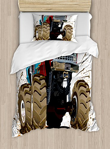 Man Cave Decor Duvet Cover Set by Ambesonne, Monster Truck Splashing Mud Graphic Design Flame Machinery Engine Wheels, 2 Piece Bedding Set with 1 Pillow Sham, Twin / Twin XL Size, Multicolor