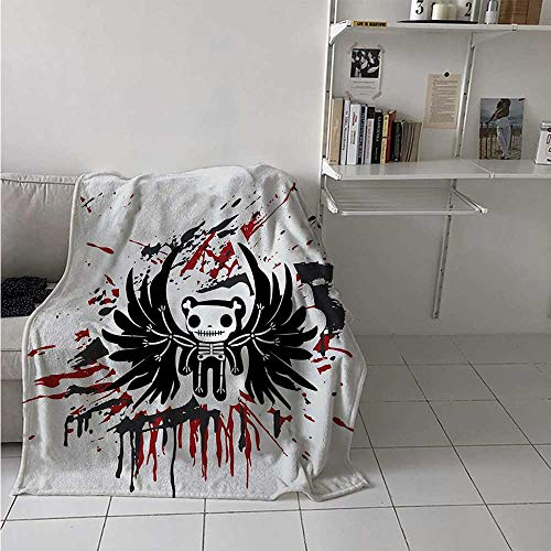 maisi Halloween Digital Printing Blanket Teddy Bones with Skull Face and Wings Dead Humor Funny Comic Terror Design Summer Quilt Comforter 62x60 Inch Pearl Black Ruby]()