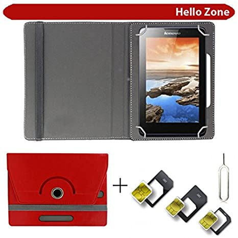 Hello Zone with Free Sim Adapter Kit Micromax Funbook Alfa P250 360 deg; Rotating 7 rdquo; Inch Flip Case Cover Book Cover  Red Bundles