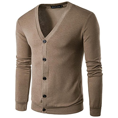 ManxiVoo Men Autumn Button Knit Sweater Cardigan Coat V Neck Casual Cable Hooded Long Sleeve Knit Outwear (L, Coffee)