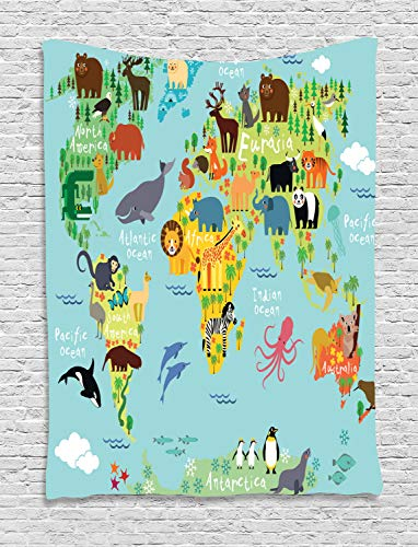 - Ambesonne Map Tapestry for Kids Wanderlust Decor, Forest Animals Map of The World for Children and Kids Cartoon Mountains Image, Bedroom Living Room Dorm Wall Hanging Tapestry, Green Yellow Blue