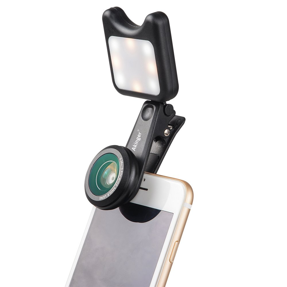 AKinger Cell Phone Lens Portable Selfie Led Light with 9 Lighting Model +15X Macro Lens + 0.36X Wide Angle Lens for Samsung,Sony,iPhone, Android and other Smart Phones