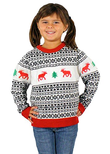Children's Ugly Christmas Sweater in Reindeer Pattern