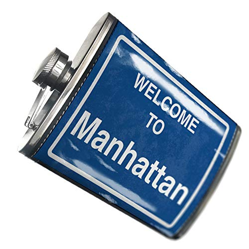 NEONBLOND Flask Sign Welcome To Manhattan Hip Flask PU Leather Stainless Steel Wrapped