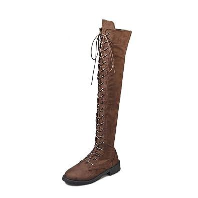 77055bbd0658 Stiefel Damen Overknee Stiefel Flach Winter Flachen Wildleder Schnüren  Plateau High Boots Winterschuhe Bequeme Casual Elegante