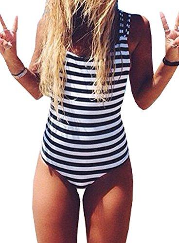 Women Backless Striped One Piece Swimsuit Beachwear Swimwear (S, Stripe)