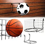 Slatwall, Pegboard, Gridwall Ball Display with 6'' Ring - Retail Ball Holding Rack - Black - 2 Pack