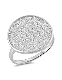 Circle Wide Micro Pave White CZ Unique Ring .925 Sterling Silver Band Sizes 5-9