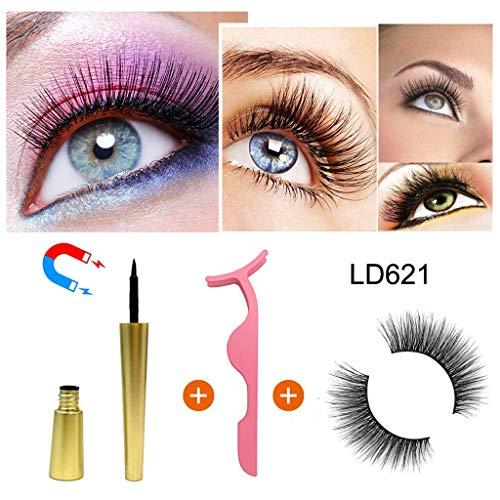 (NOGOQU Professional Eye Makeup Set Charming Magnetic False Lashes & Magnetic Liquid Eyeliner & Tweezer (D) Black)